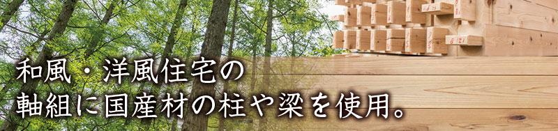 寺門工務店では、和風・洋風住宅の軸組に国産材の柱や梁を使用